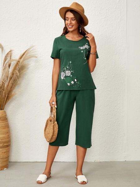 Floral Print Top & Capris Pants