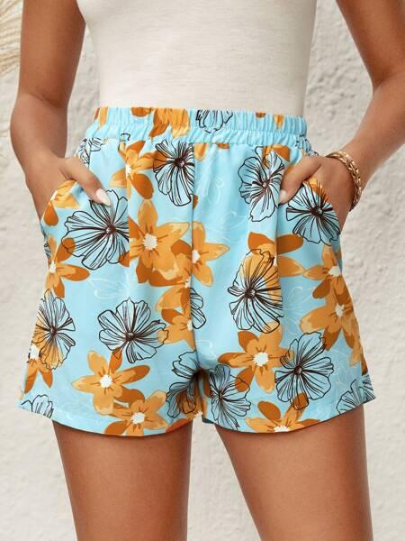 Allover Floral Pocket Side Shorts
