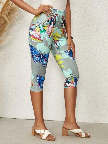Butterfly Print Biker Shorts