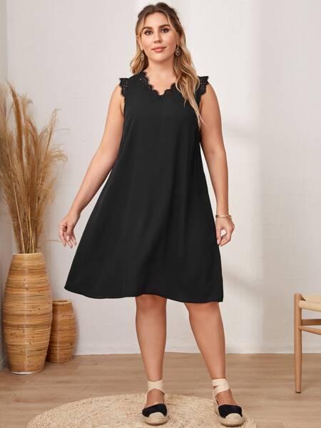Plus Lace Trim Tunic Dress