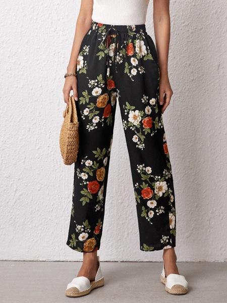 Floral Print Straight Leg Pants