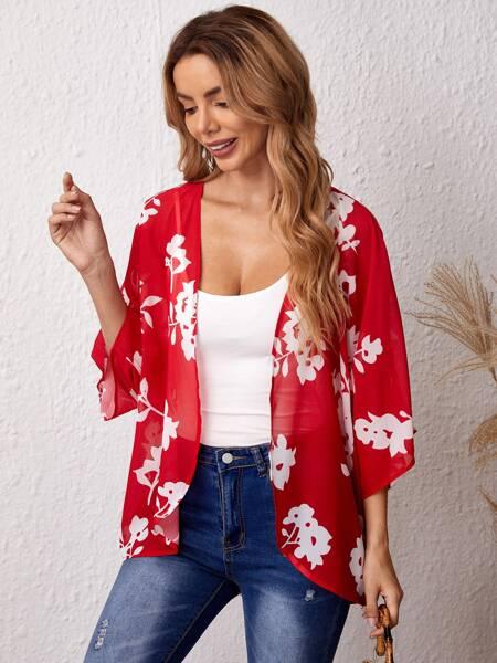 Floral Print Open Front Kimono