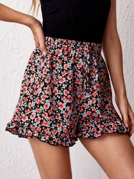Allover Floral Ruffle Hem Shorts