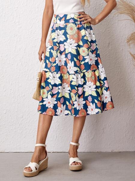 Allover Floral Ruffle Hem Skirt