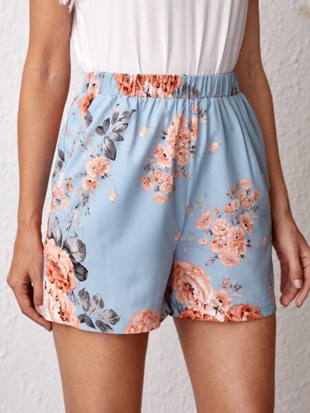 Floral Print Slant Pocket Shorts