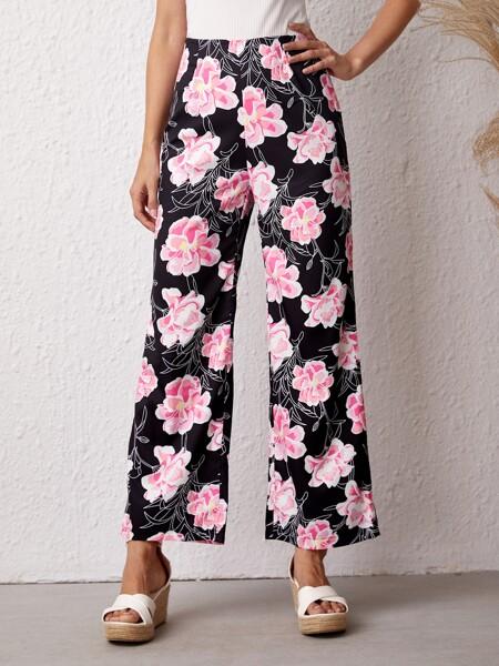 Allover Floral High Waist Pants