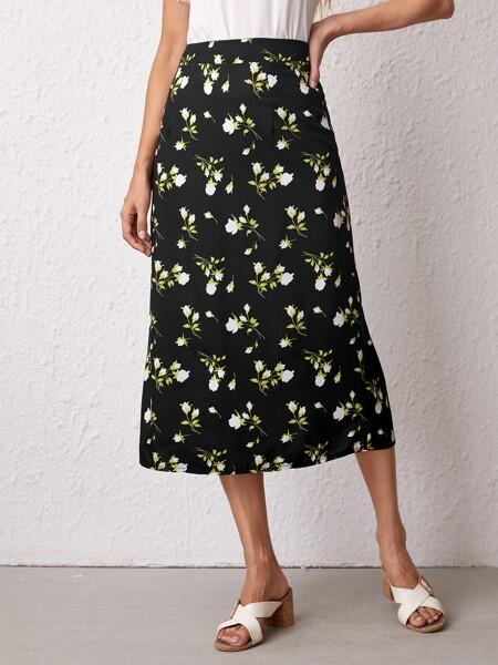 Floral Print High Waist Skirt