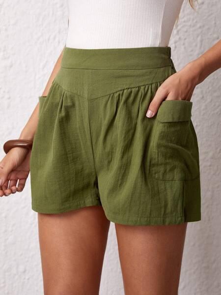 Pocket Side Wide Leg Shorts