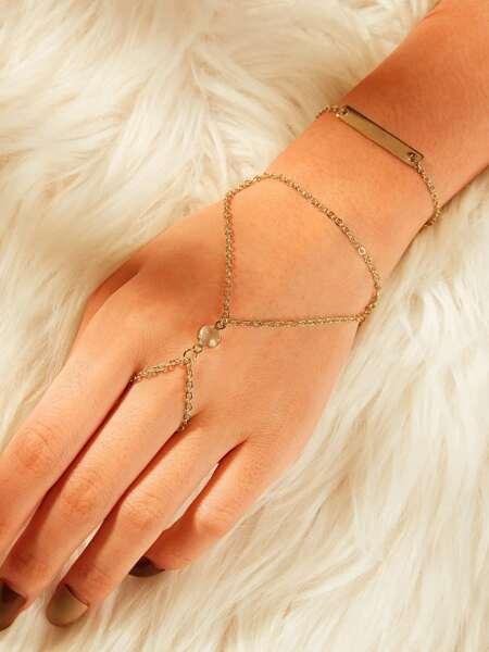 Bar Detail Finger Ring Combination Chain Bracelet 1pc
