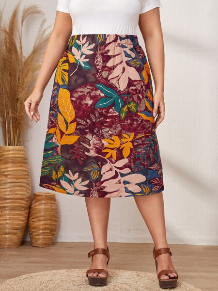 Plus Plants Print Straight Skirt