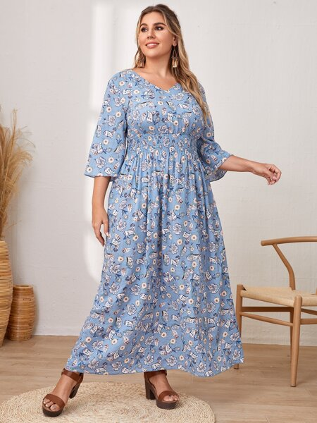 Plus Shirred Waist Floral And Paisley Print Dress