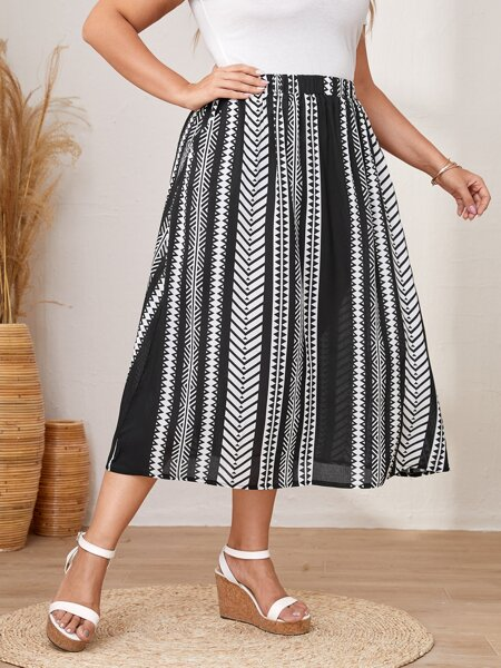 Plus Geo Print A-line Skirt