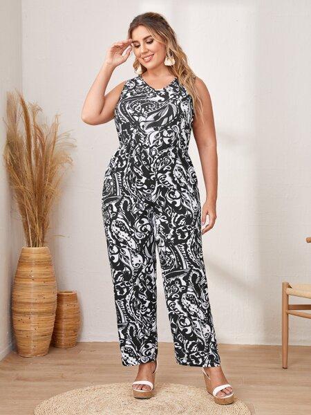 Plus Allover Print V-neck Sleeveless Culotte Jumpsuit