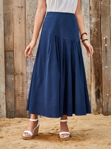 Fold Pleated Solid Skirt