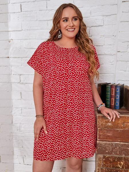 Plus Ditsy Floral Tunic Dress