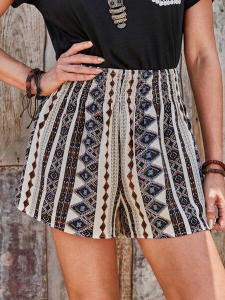 Geo Print Shirred Waist Shorts