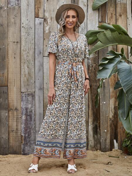 Floral Print Belted Jumpsuit
