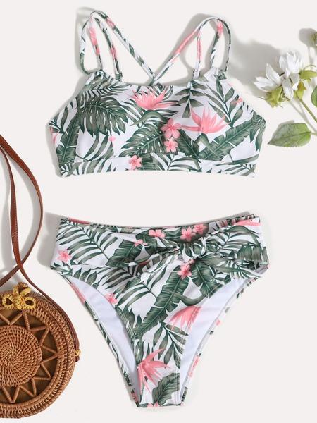 Tropical Print Knot Bikini Swimsuit