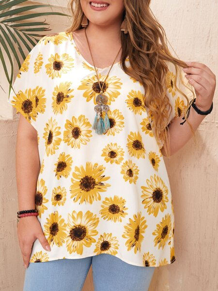Plus Batwing Sleeve Sunflower Print Top
