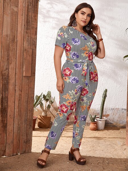 Plus Floral & Striped Tee And Leggings Set