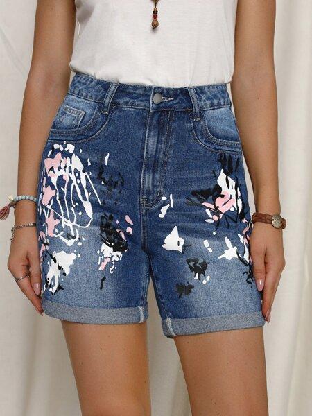 High Waist Splash Ink Roll Hem Denim Shorts