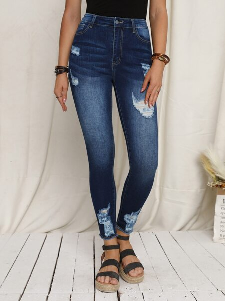 High Waist Ripped Raw Hem Skinny Jeans