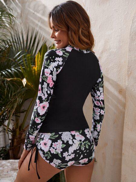 Floral Drawstring Raglan Sleeve Bikini Swimsuit