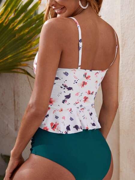 Floral Ruffle Hem Bikini Swimsuit