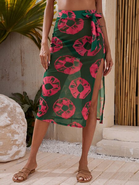 Doughnut Print Mesh Cover Up Skirt
