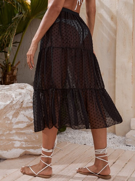 Swiss Dot Mesh Cover Up Skirt
