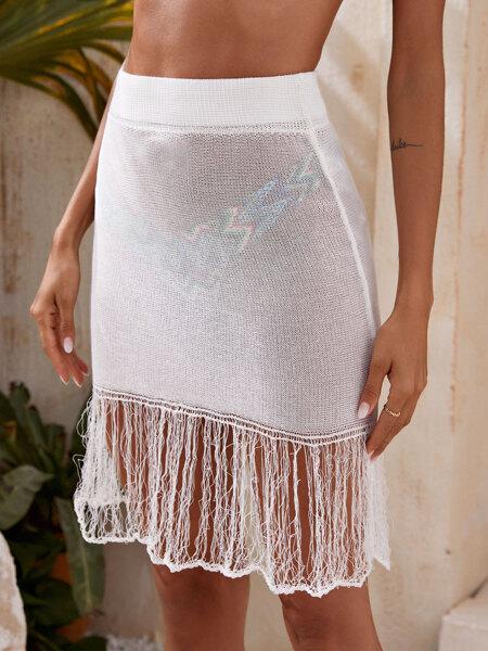 Fringe Hem Knitted Cover Up Skirt