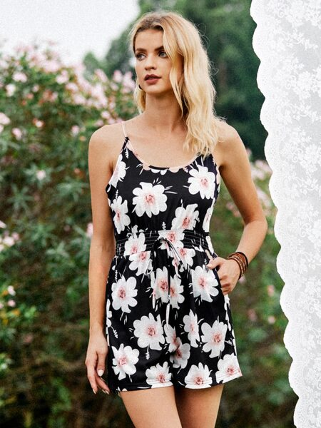 Allover Floral Knotted Cami Romper