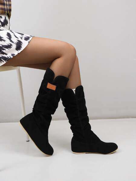 Hidden Wedge Slouchy Boots