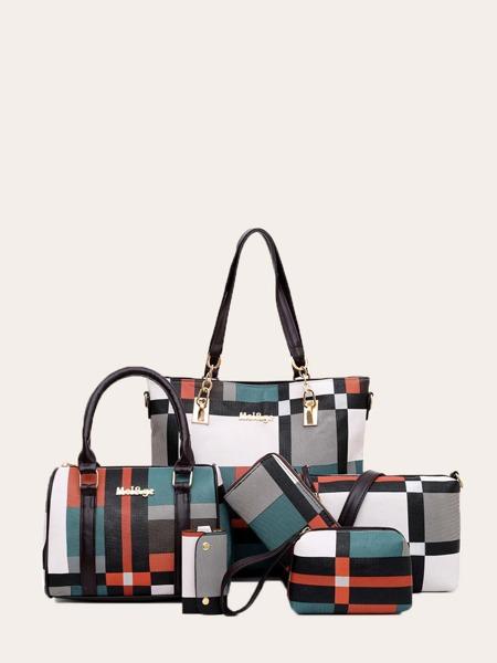 6pcs Color Block Tote Bag Set