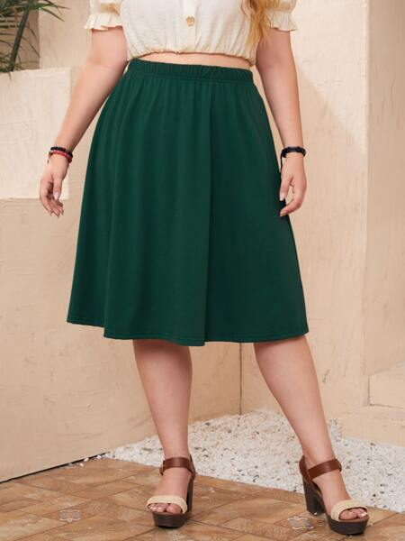 Plus Solid Flare Skirt