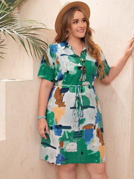 Plus Brush Print Belted Shirt Dress