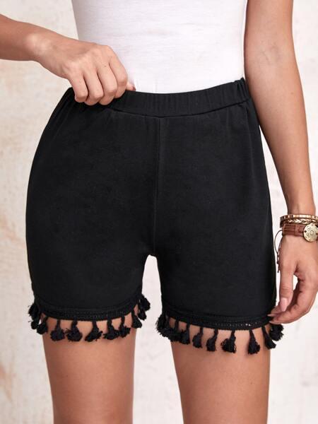Tassel Hem Solid Shorts