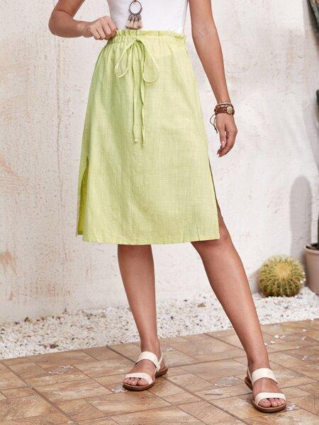 Split Hem Paperbag Waist Skirt