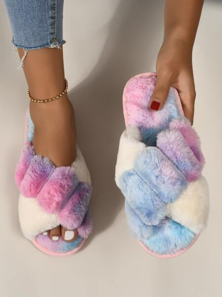 Colorblock Cross Strap Fluffy Slippers