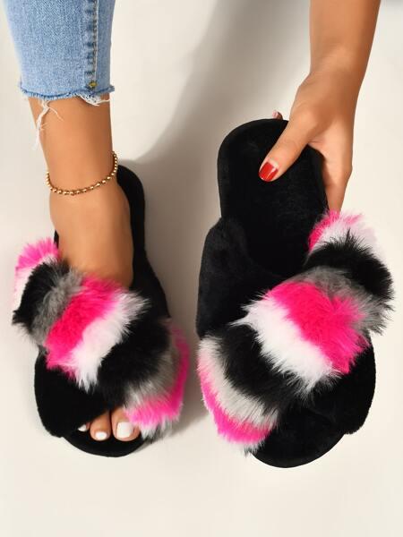 Open Toe Colorblock Fluffy Slippers