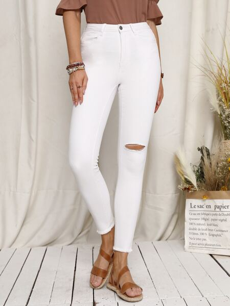 Zipper Fly Ripped Detail Jeans