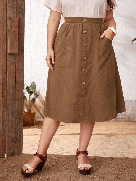 Plus Button Front Patch Pocket Skirt