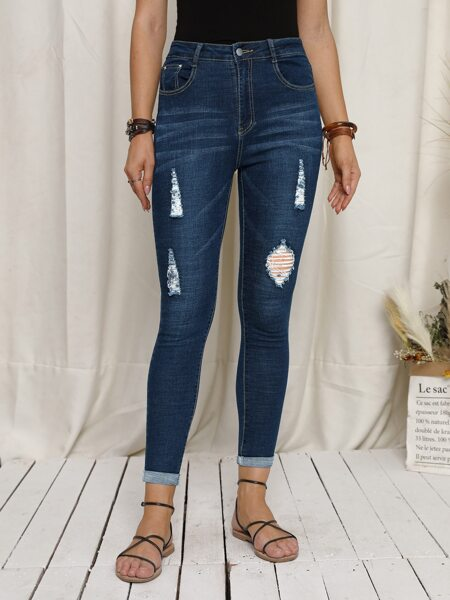 High Waist Ripped Detail Skinny Jeans