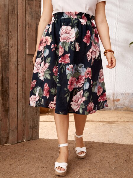 Plus Paperbag Waist Floral Skirt