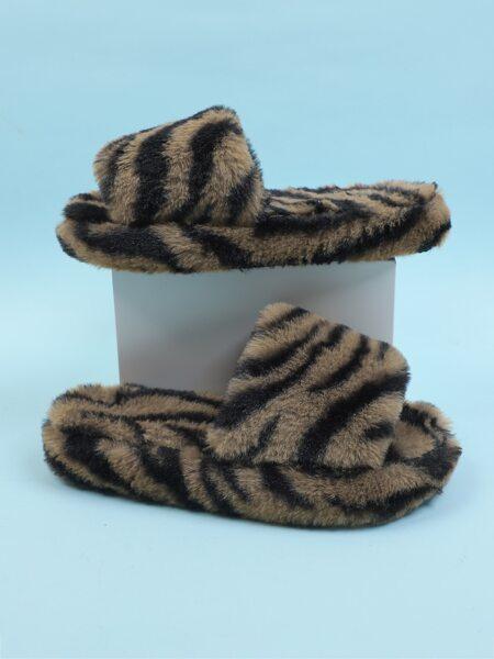 Zebra Striped Pattern Fluffy Slippers