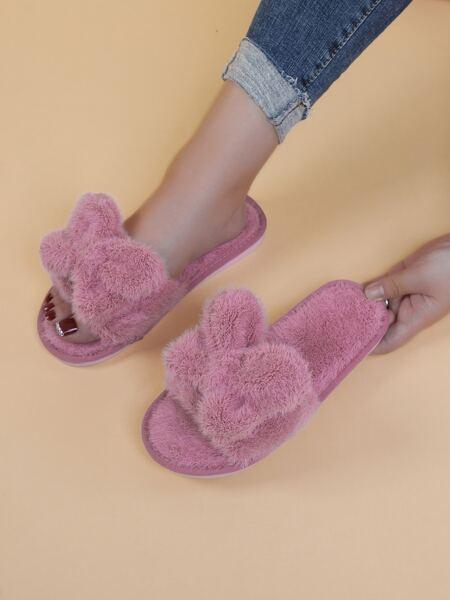 Minimalist Bow Decor Fluffy Slippers