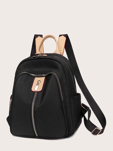 Zipper Front Large Capacity School Bag