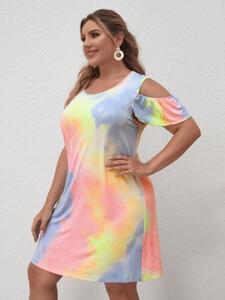 Plus Cold Shoulder Tie Dye Dress
