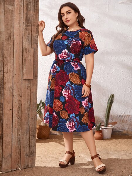 Plus Floral Print Crop Top & Skirt Set