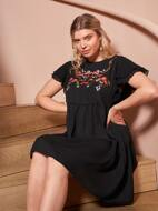 Plus Butterfly Sleeve Floral Embroidery Smock Dress